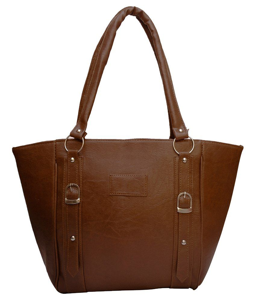 Vintage Brown Faux Leather Shoulder Bag