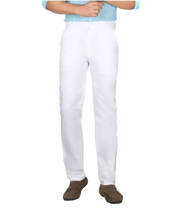 machu White Regular Fit Flat Trousers