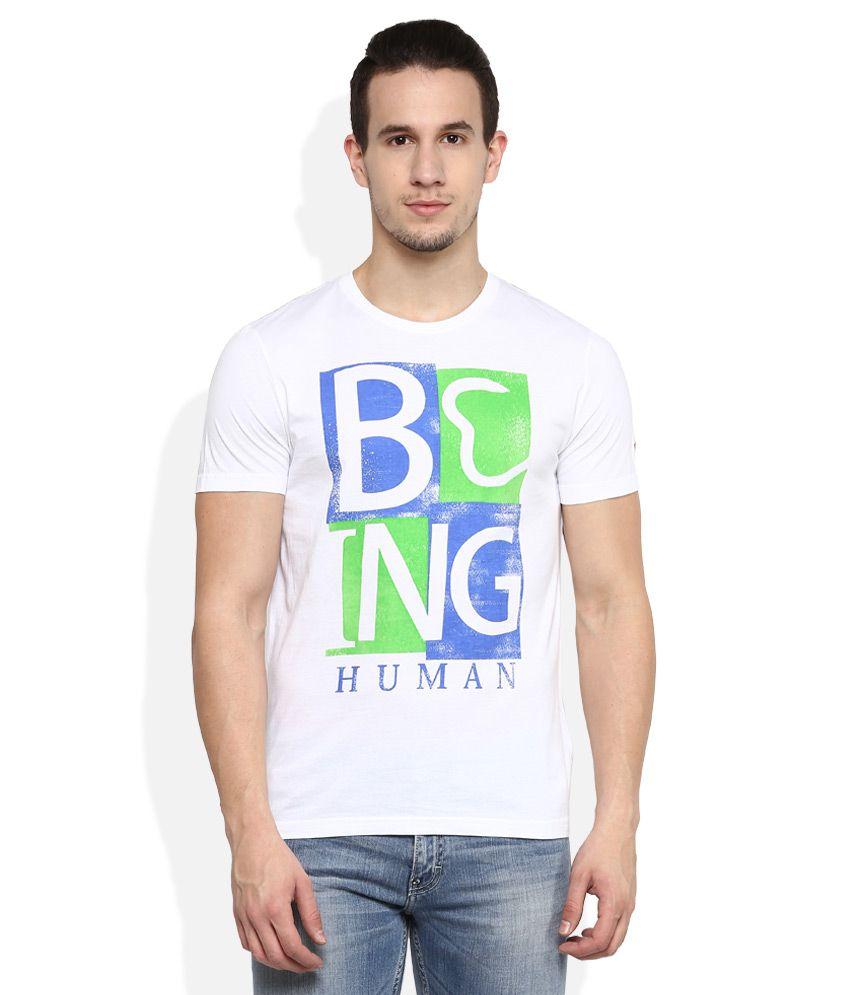 Being Human White Round Neck T Shirt