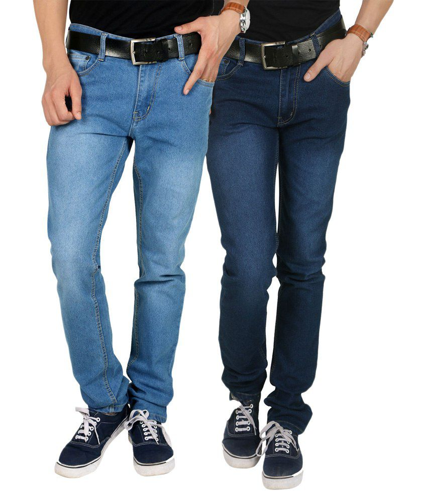 Custom Creation Blue Regular Fit Jeans Combo of 2