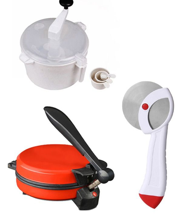 GTC Combo Of Eagle Red Detachable Rotimaker, Doughmaker And Pizzacutter