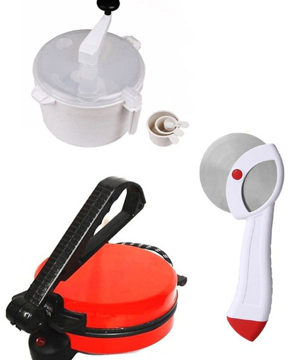 GTC Combo Of National Red Roti Maker, Dough Maker And Pizza Cutter