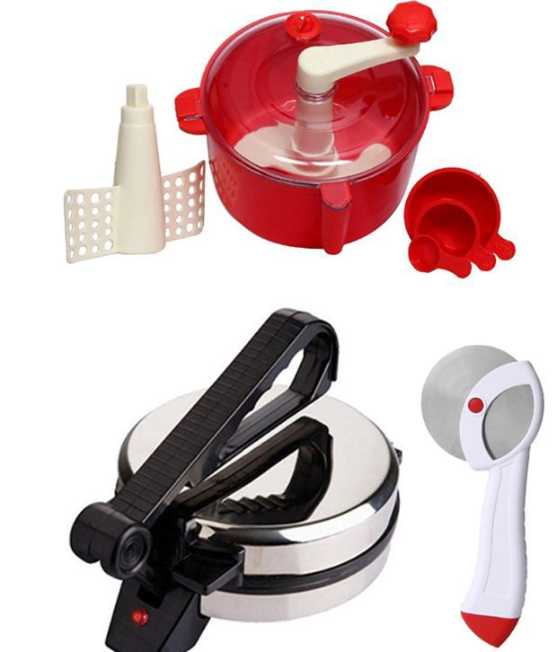 GTC Combo Of Roti Maker, Red Dough Maker And Pizza Cutter
