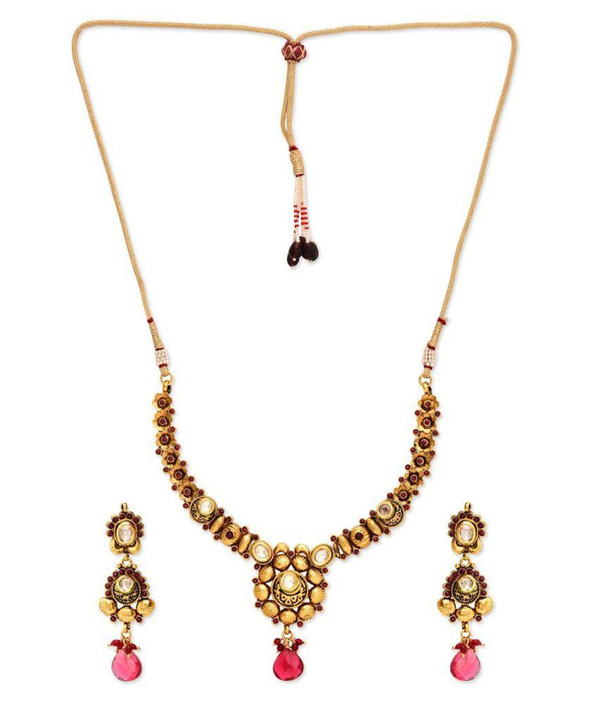 Golden Peacock Golden and Pink Alloy Necklace Set