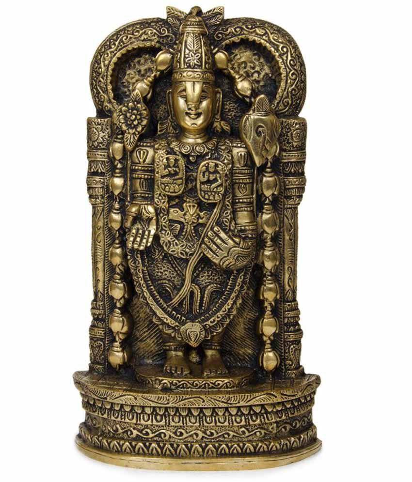 Imlistreet Golden Brass Tirupati Balaji Idol