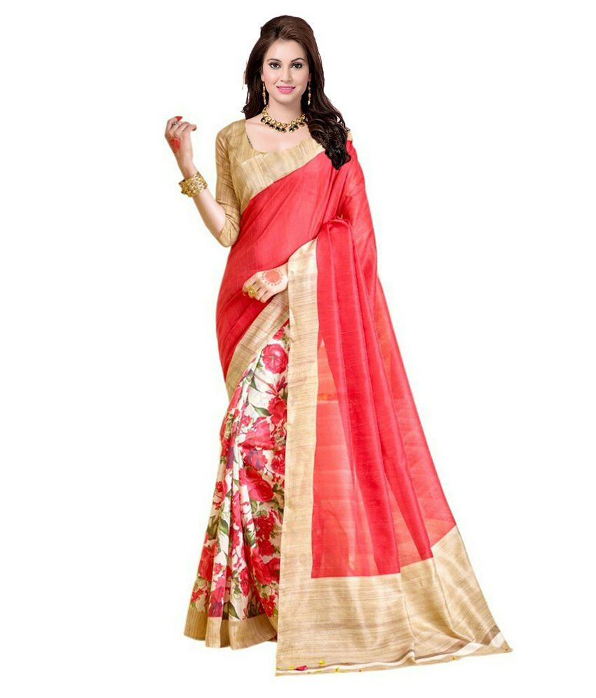 42e64d6e91d Ishin Red and Beige Bhagalpuri Silk Saree - Buy Ishin Red and Beige  Bhagalpuri Silk Saree Online at Low Price - Snapdeal.com