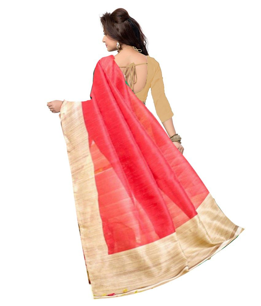eb8c61e9f38 Ishin Red and Beige Bhagalpuri Silk Saree - Buy Ishin Red and Beige ...