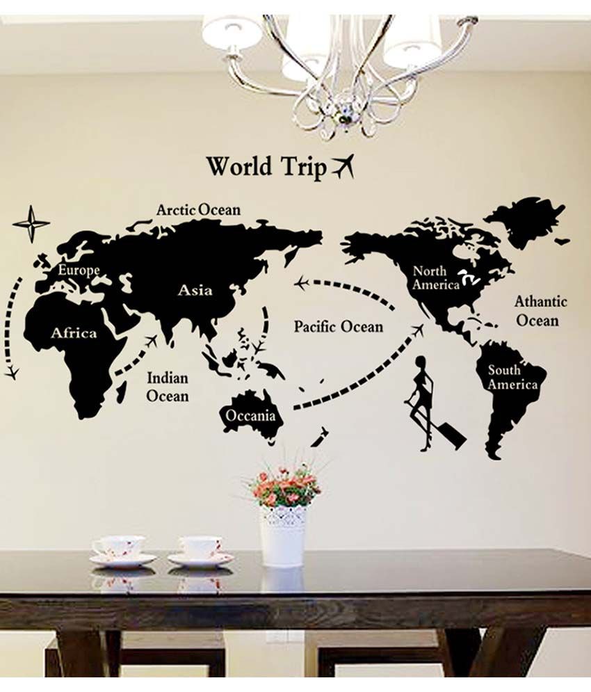 Stickerskart Black World Map In Black Colour Home fice Living Room