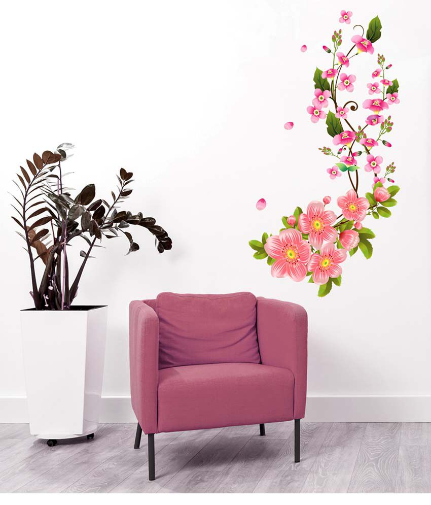 Stickerskart multicolor flower wall decals in pink blossoms sofa stickerskart multicolor flower wall decals in pink blossoms sofa background art living room home vinyl wall mightylinksfo