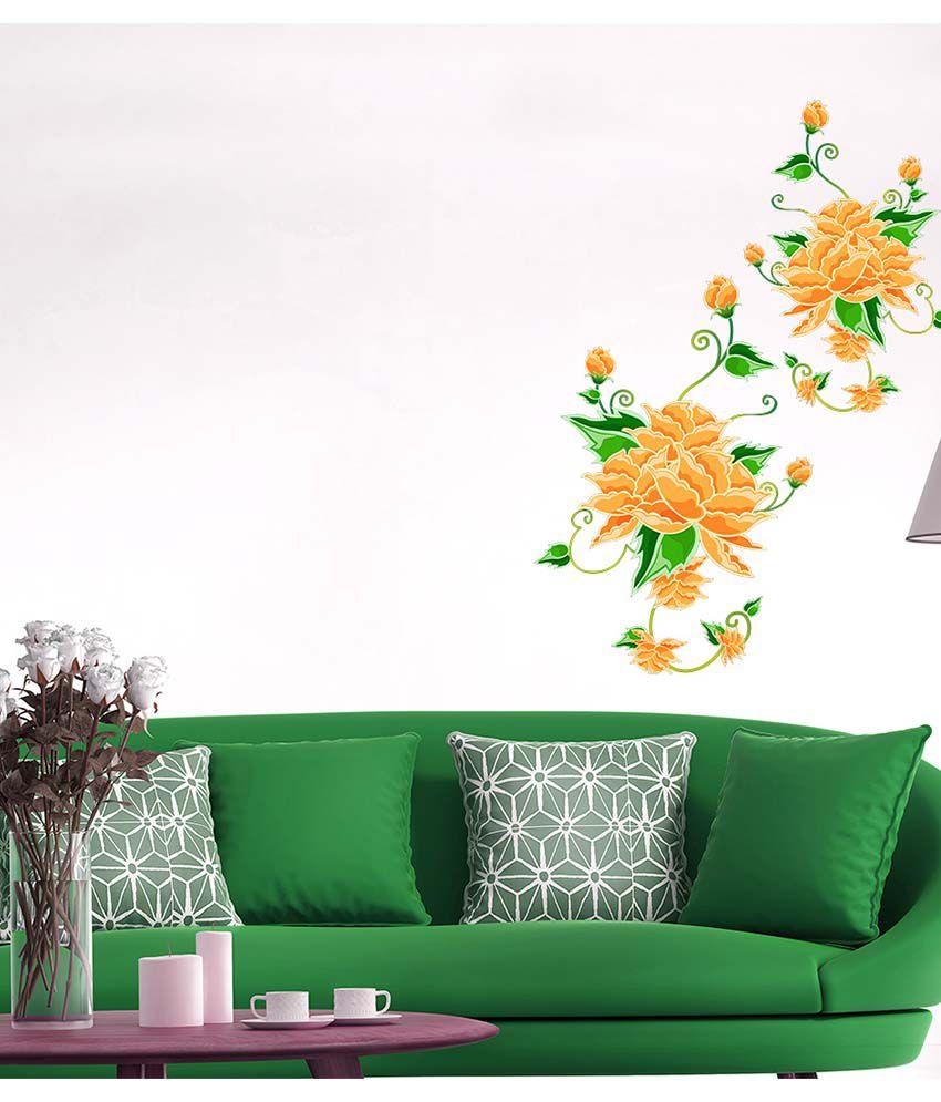 Stickerskart Multicolor Home Decor Sticker Orange Flower ...