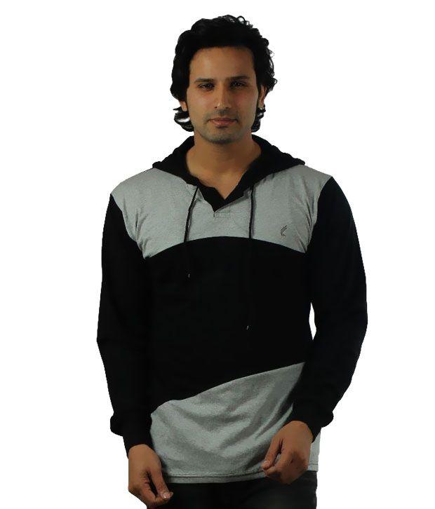 V3Squared Black Hooded T Shirts