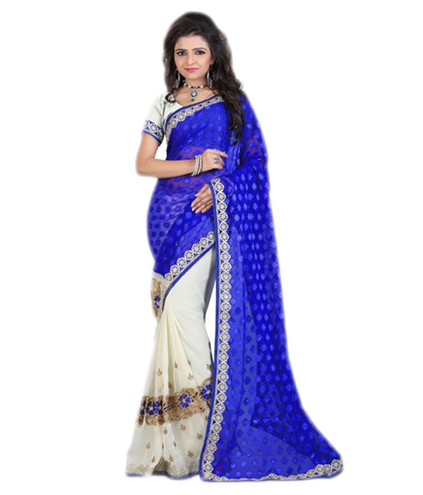 Vacna Fashion Blue Georgette Saree