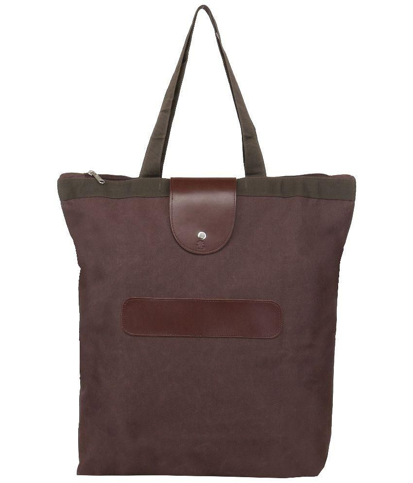 Walletsnbags Brown P.U  Foldable Tote Shopping Bag
