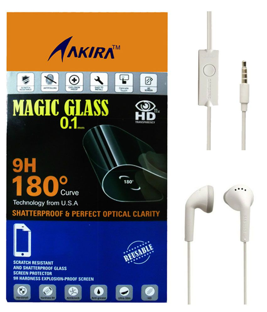 Samsung Galaxy A5 Tempered Glass Screen Guard with Earphones by AKIRA