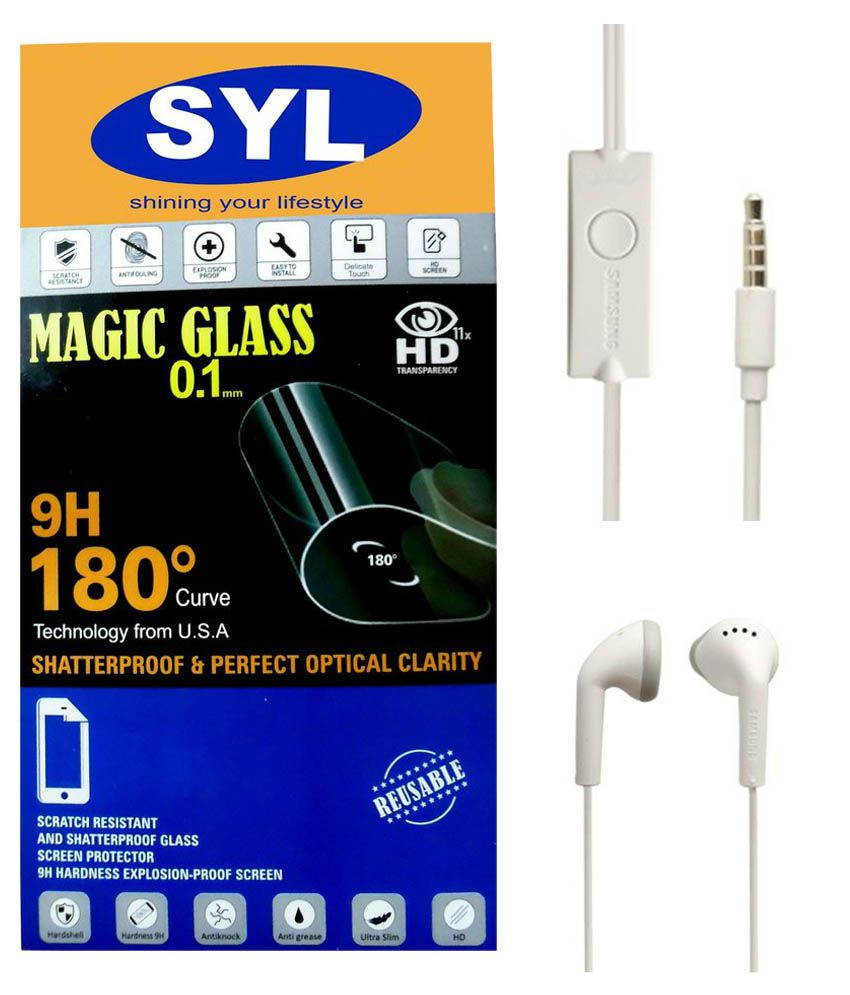 Samsung Galaxy E5 Tempered Glass Screen Guard with Earphones by SYL