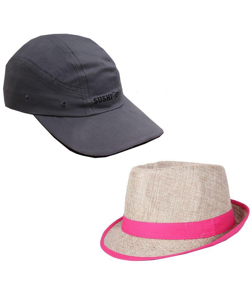 Sushito Multicolor Fidora Hat For Men - Set of 2