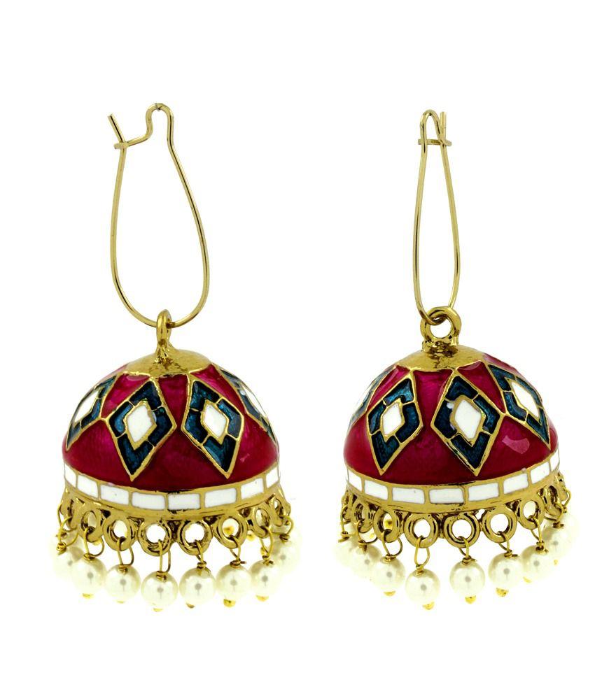 The Jewelbox Maroon Blue White Gold Plated Meenakari Pearl Enamel Jhumki Earring for Women