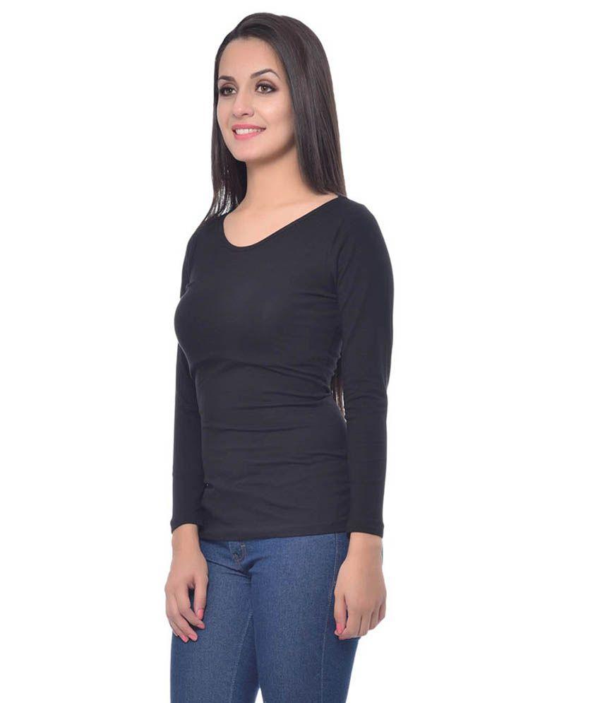 679b13924ceca0 Frenchtrendz Black Cotton Tops - Buy Frenchtrendz Black Cotton Tops ...