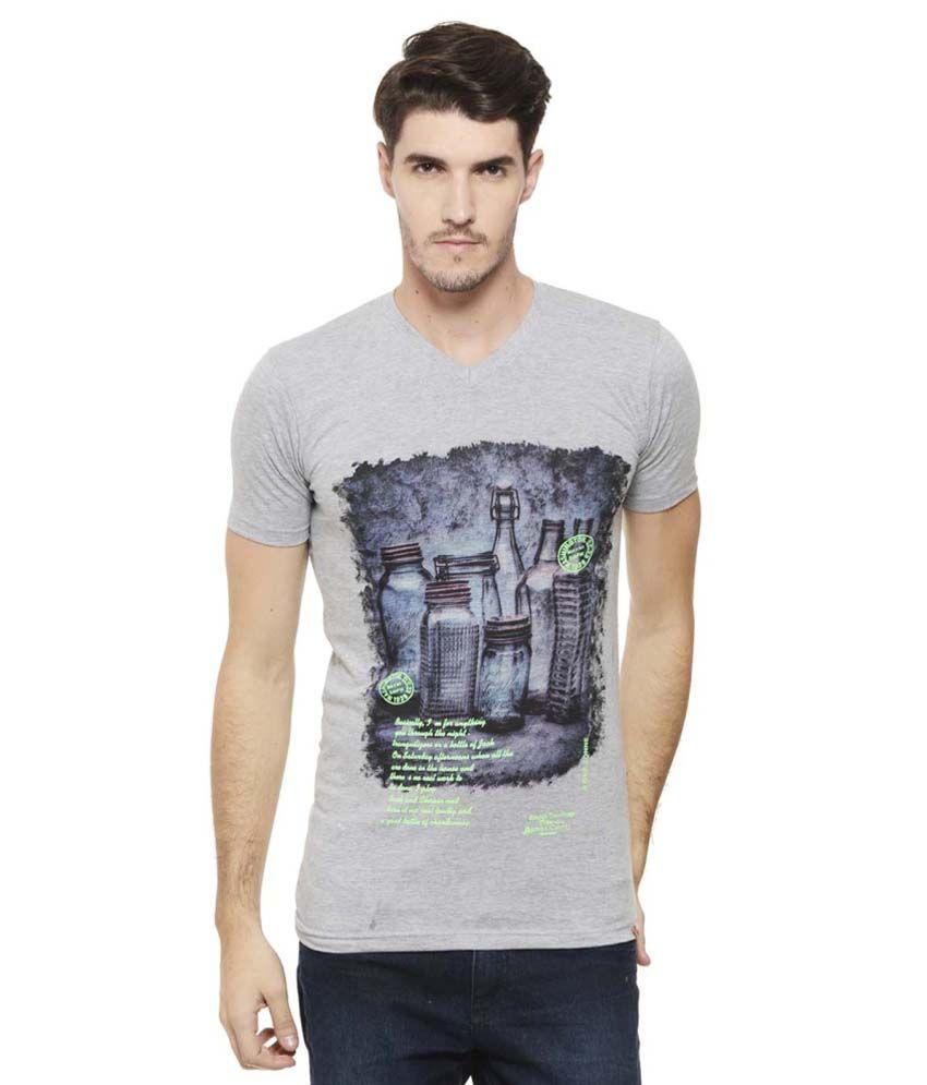 A1 Tees Grey V-Neck T Shirts