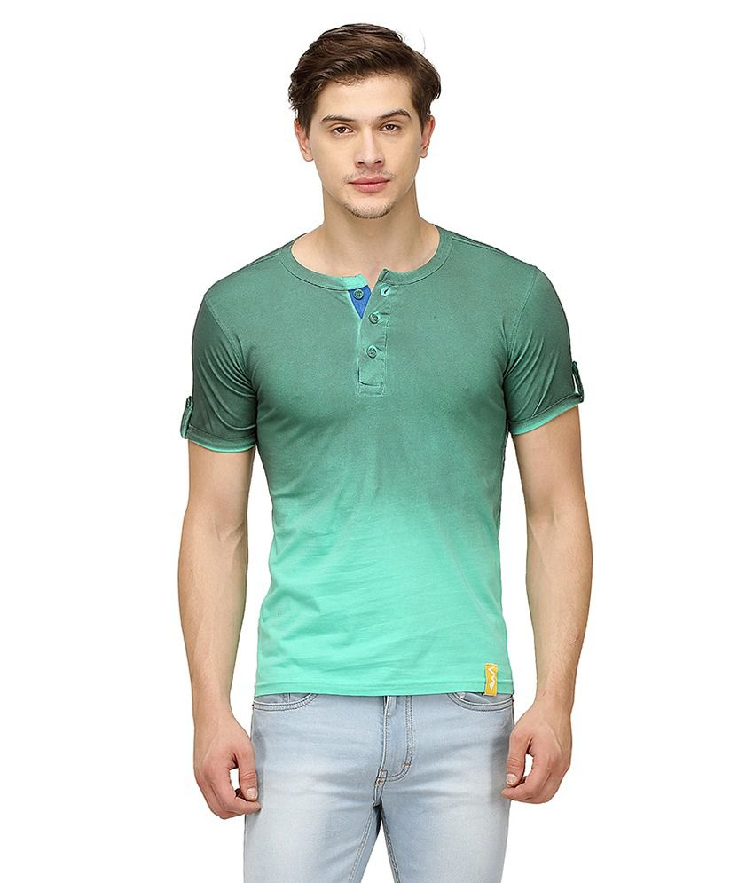 Campus Sutra Green Henley T Shirts