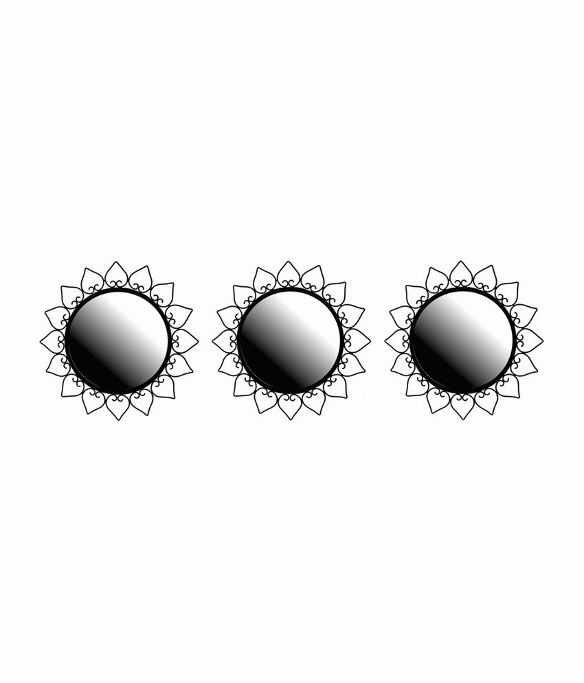Hosley Decorative Round Wall Mirrors, 12 Inches - Black (Set of 3)