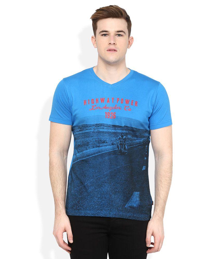 Route 66 Blue V-Neck T Shirt