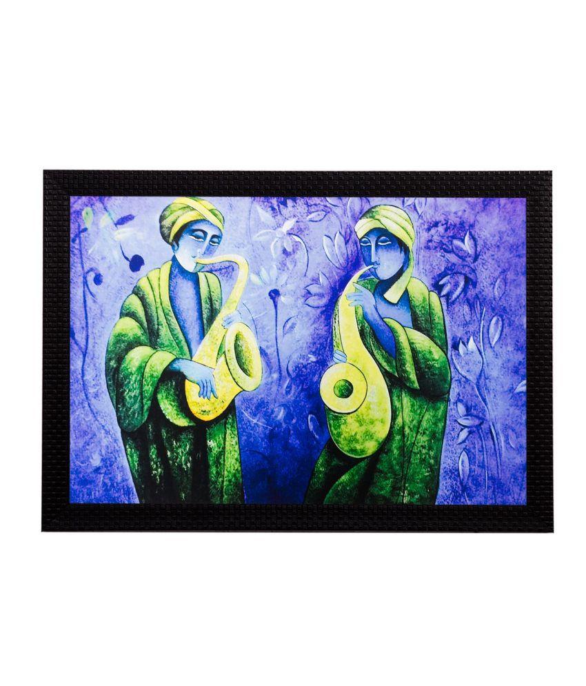 eCraftIndia Man playing Trumpet Matt Textured Framed UV Art Print