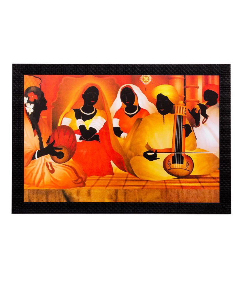eCraftIndia Musicians Playing Instruments Matt Textured Framed UV Art Print
