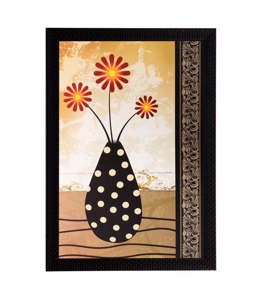 eCraftIndia Pot with Flowers Matt Textured Framed UV Art Print