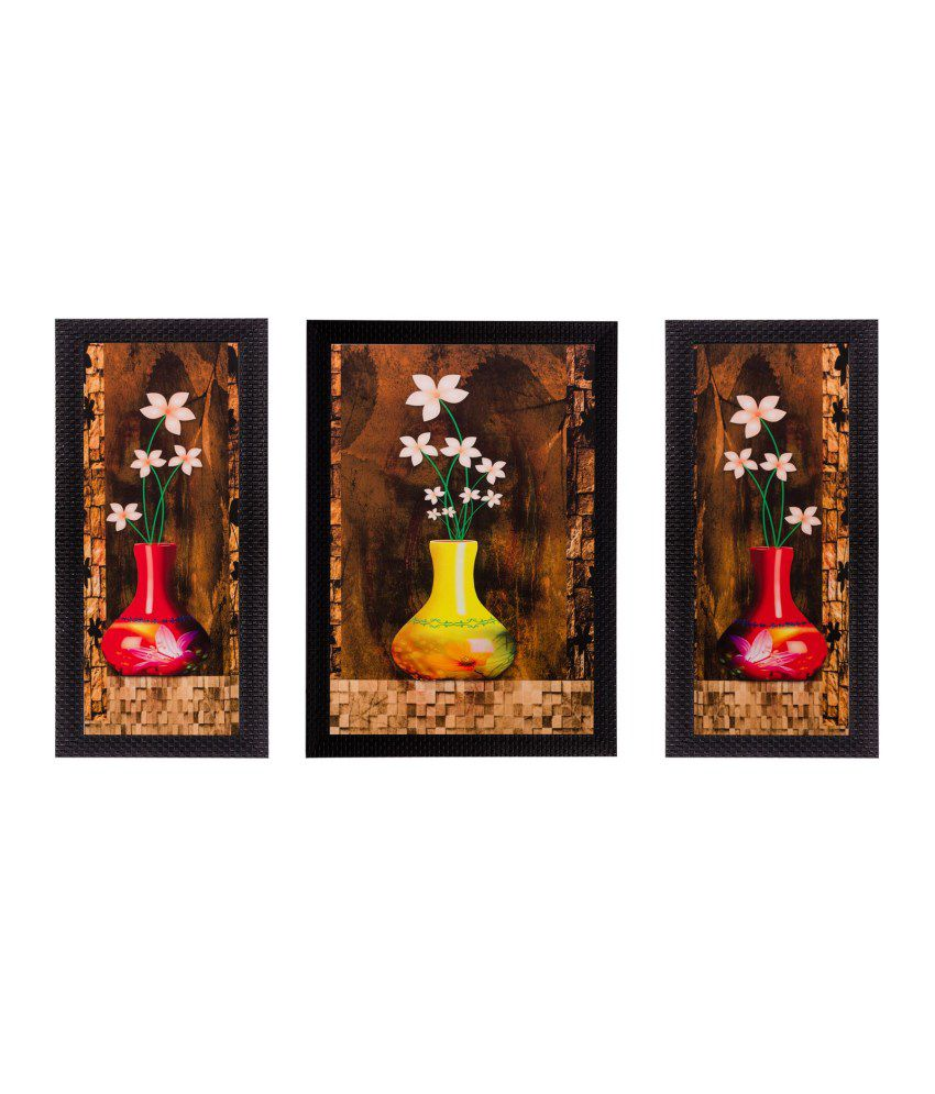 eCraftIndia Set of 3 Floral Pot Matt Textured Framed UV Art Print