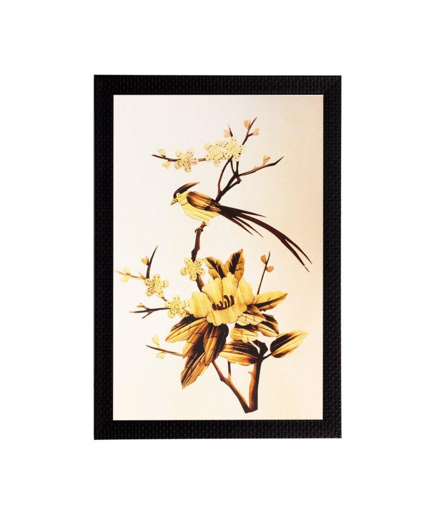 eCraftIndia Yellow Flower Matt Textured Framed UV Art Print