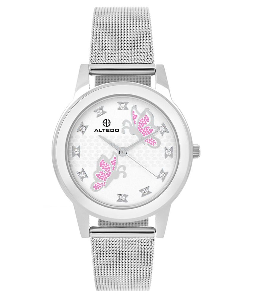 Altedo Silver Metallic Wrist Watch For Women Price In India Buy