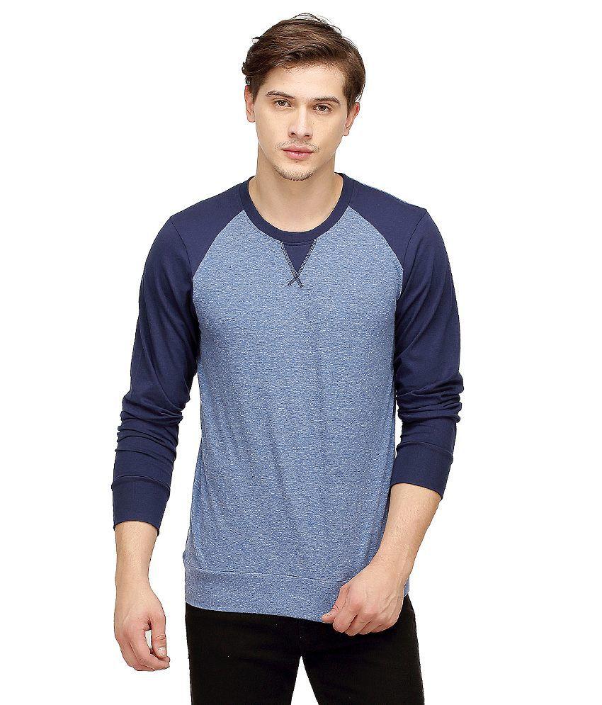Campus Sutra Blue Round T Shirts