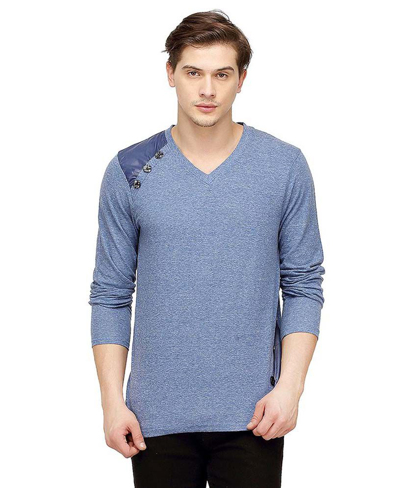 Campus Sutra Blue V-Neck T Shirts