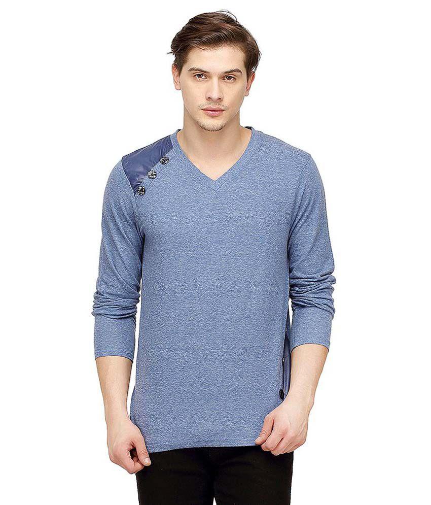 Campus Sutra Blue V-Neck T-Shirt