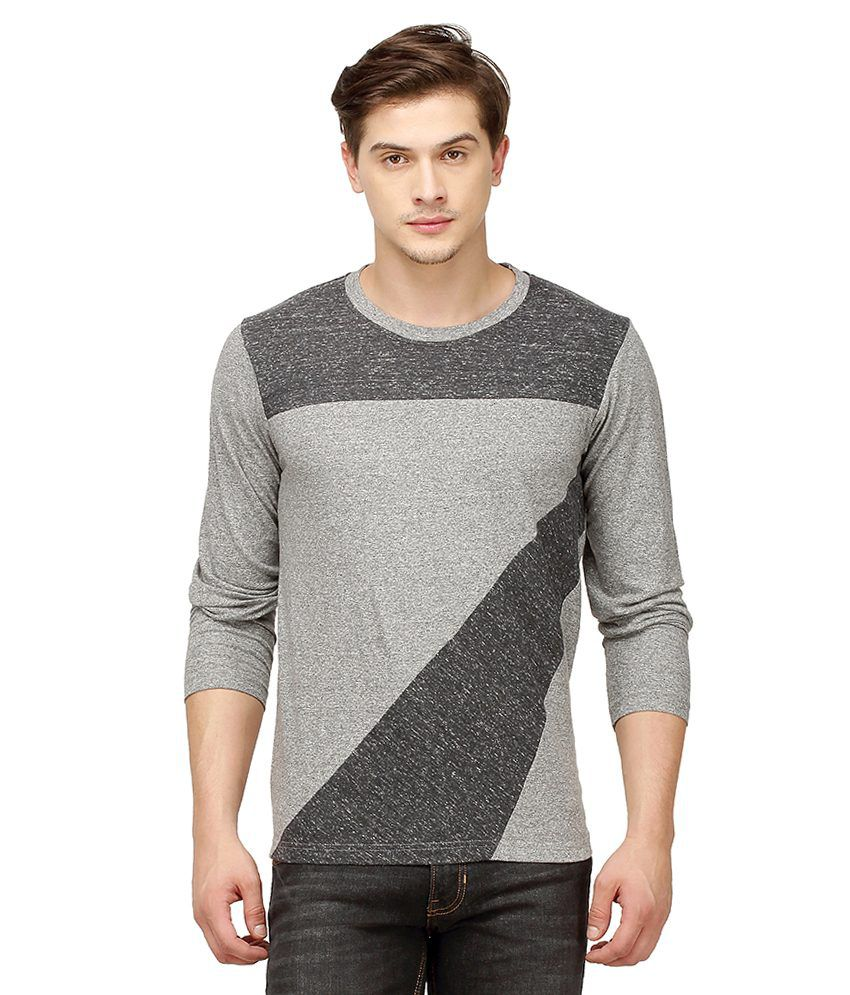 Campus Sutra Grey Round T-Shirt