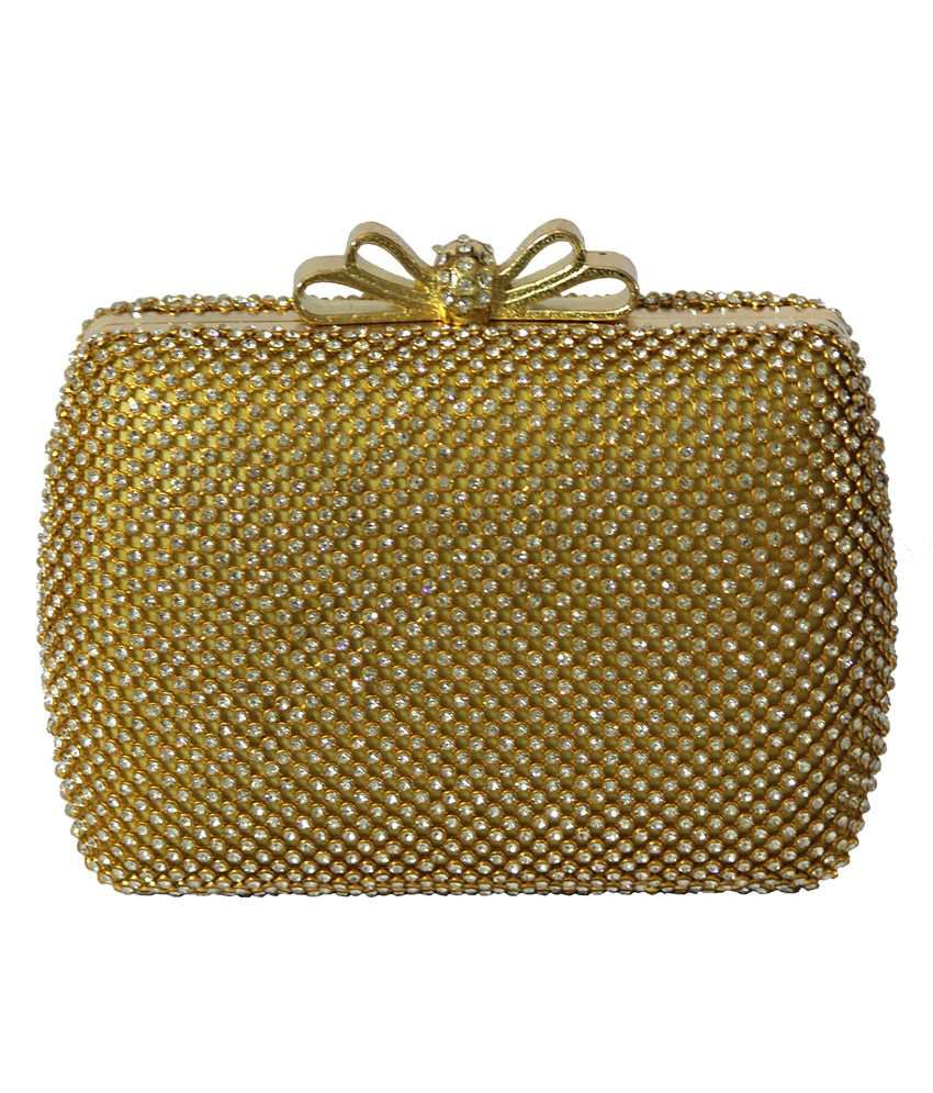 ColorsInc. Gold Fabric Clutch