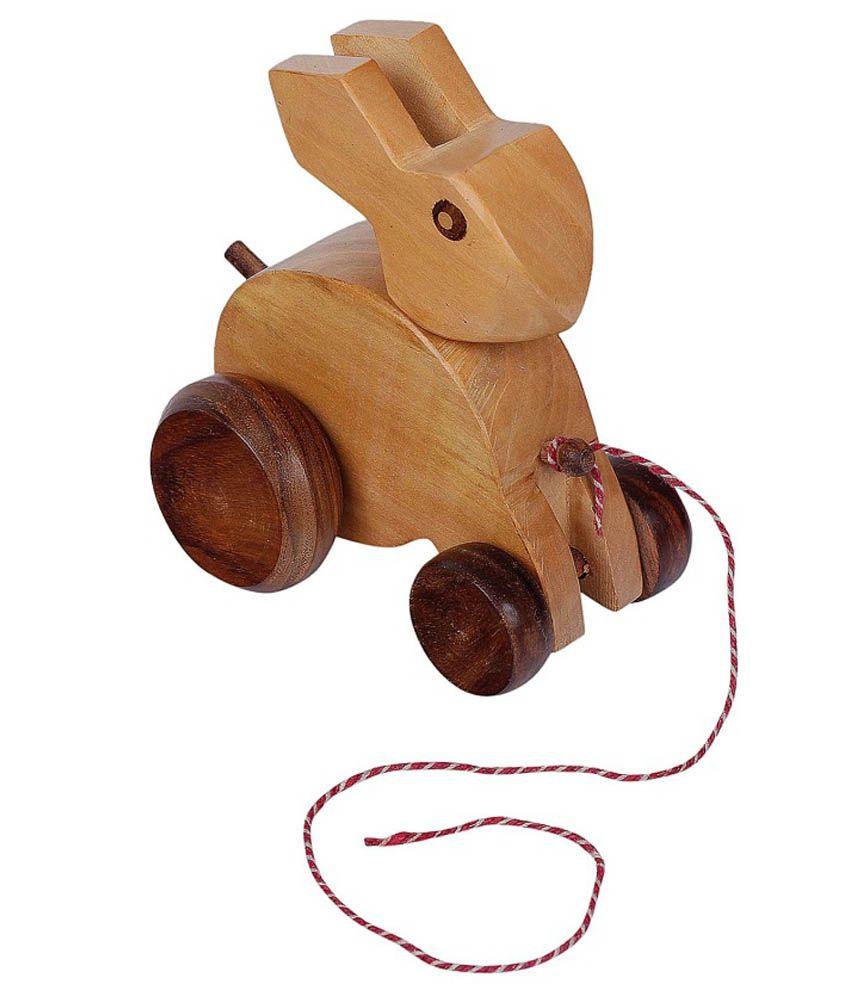 Fine Craft India Handmade Rabbit Shape Wooden Pull Along Toy