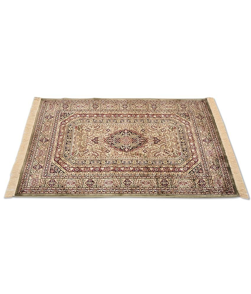 Furnishingland Multicolour Traditional Silk Carpet 4x6 Ft.