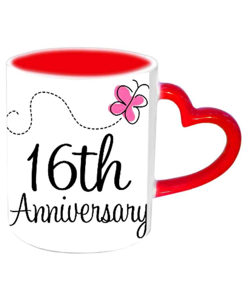Jiya Creation Happy 16th Anniversary Red Heart Handle Ceramic Mug