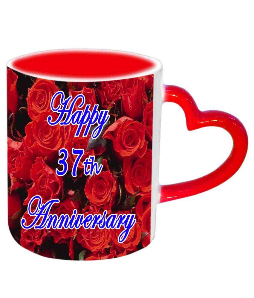 Jiya Creation Happy 37th Anniversary Red Heart Handle Ceramic Mug