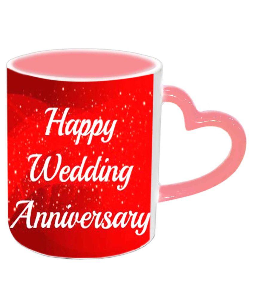 Happy Wedding Anniversary: Jiya Creation Happy Wedding Anniversary Pink Heart Handle