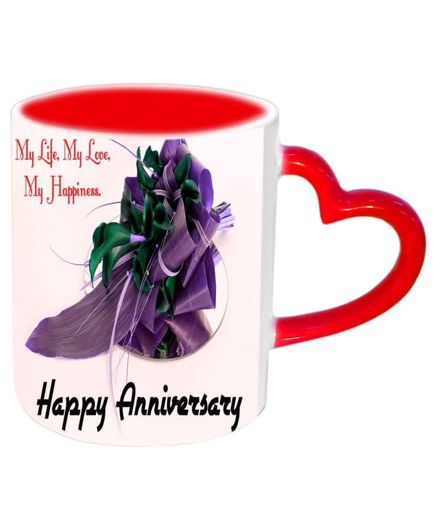 Jiya Creation My Life My Love Happy Anniversary Red Heart Handle