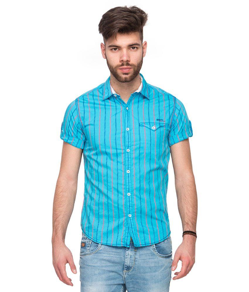 Mufti Turquoise Slim Fit Shirt Buy Mufti Turquoise Slim