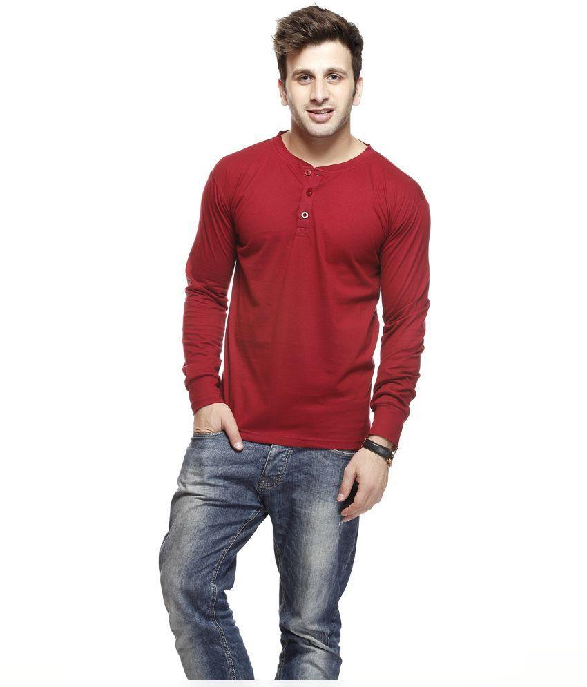 Gritstones Maroon Cotton T Shirt