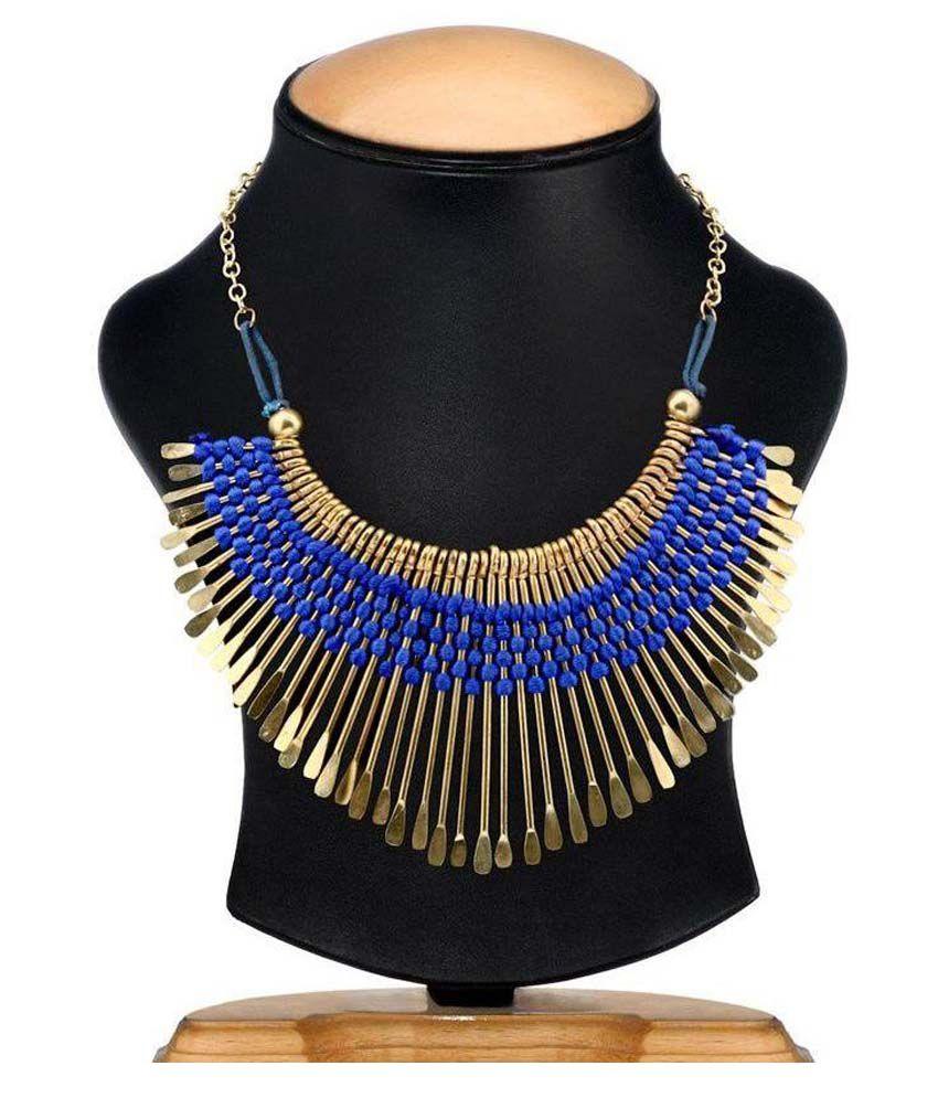 Shilpihandicrafts Blue And Gold Necklace