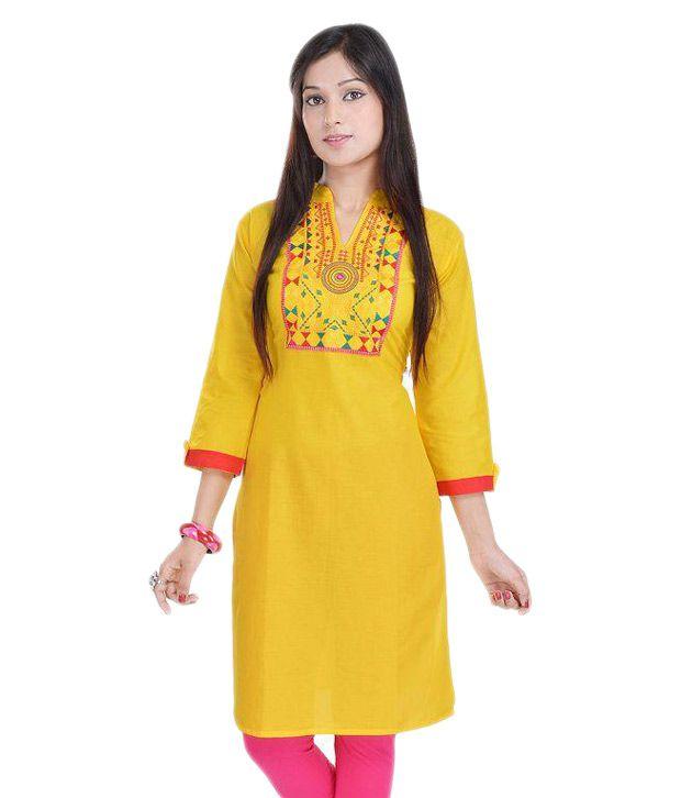 Trisha Yellow Cotton Straight Kurti