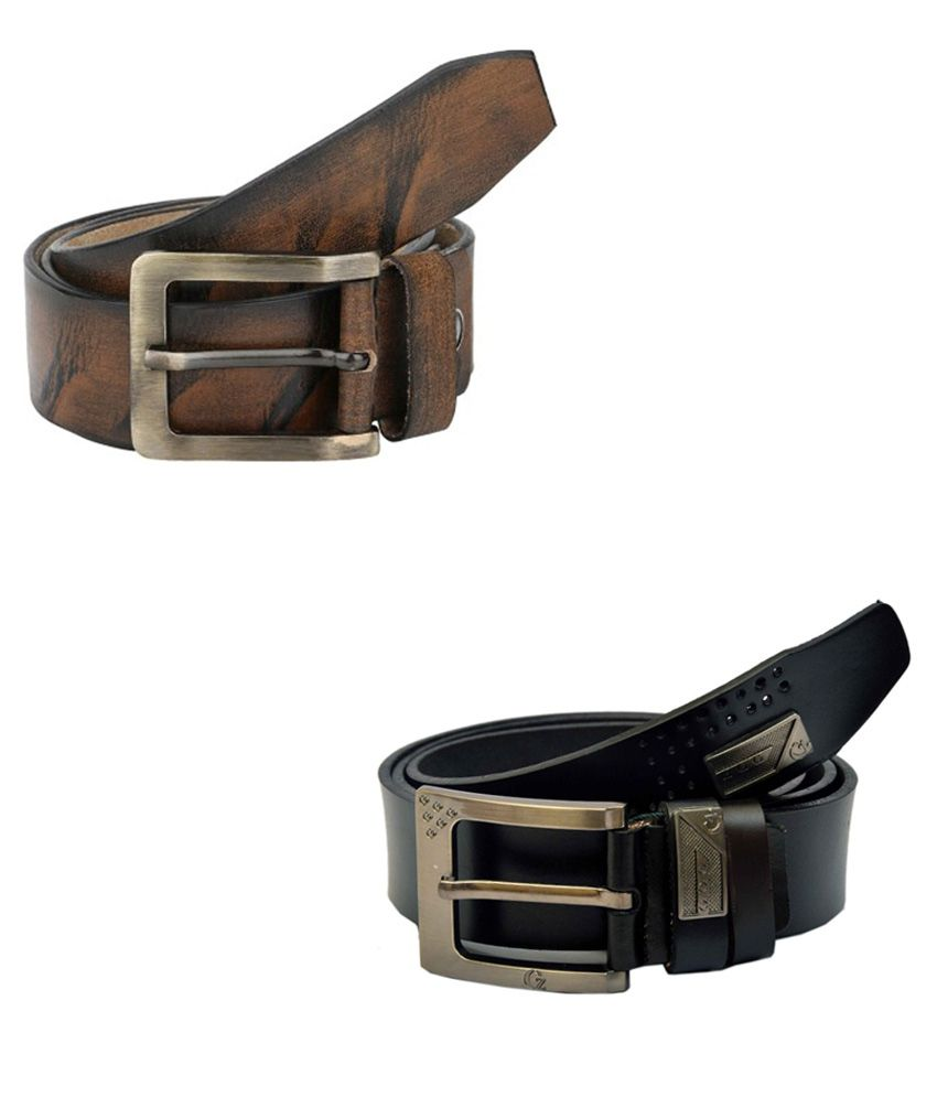 Jaydee India Designer Belt Multicolor Casual Belt For Men - Pack Of 2