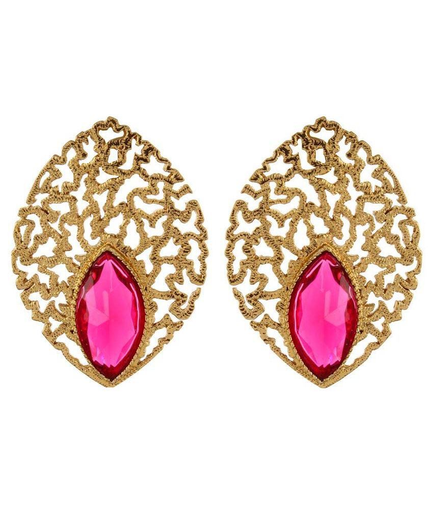 Shinningdiva Pink Alloy Stud Earrings