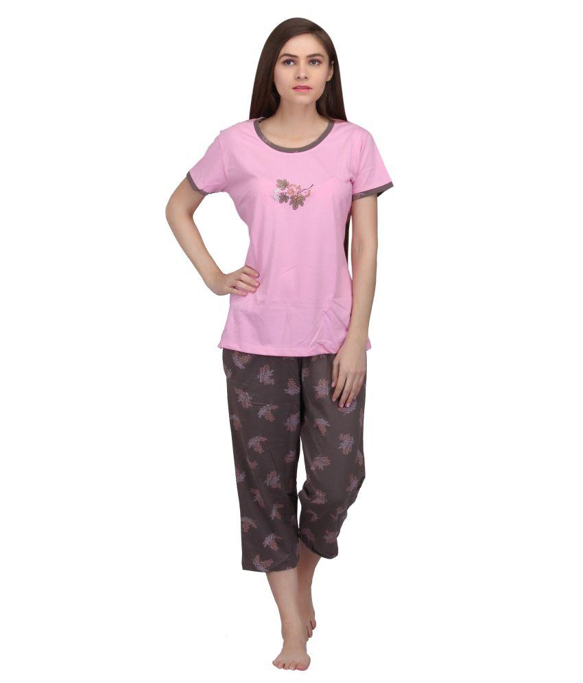 Valentine Pink Cotton Nightsuit Sets